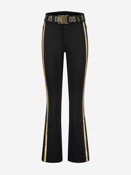 Ski pants with golden trim and belt
