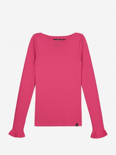 Pink top with ruffle sleeve ends