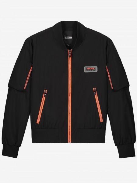 Black bomber jacket with orange zippers