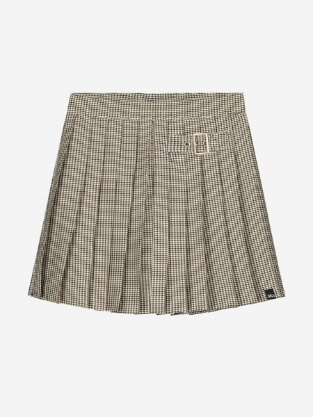 Pleated skirt with check print
