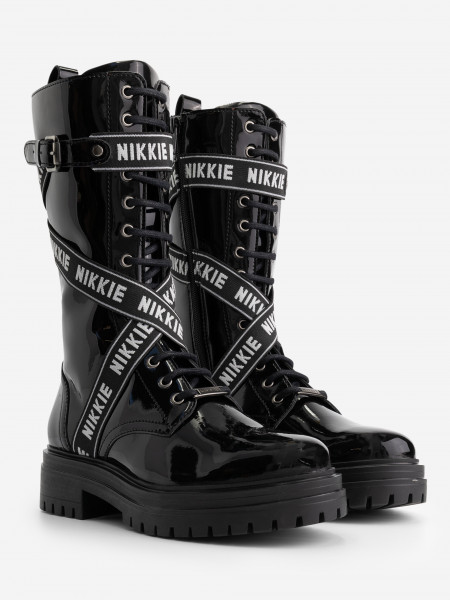patent leather boots with black/white straps