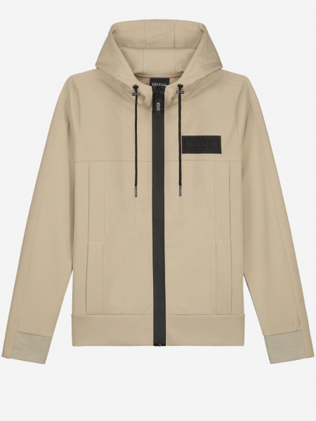 HOODED TRACK JACKET WITH LOGO PATCH