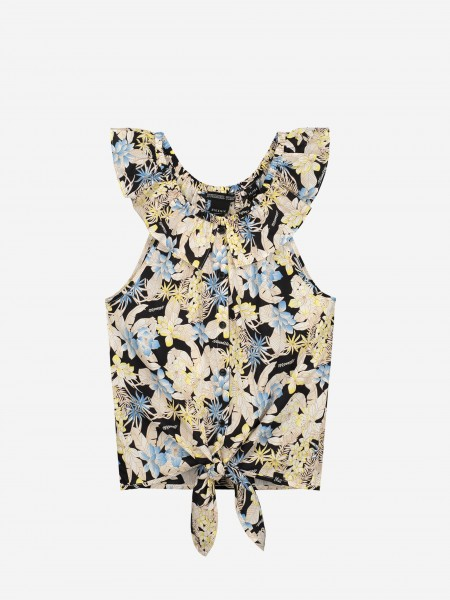 FLOWER TOP WITH RUFFLES AND BUTTONS