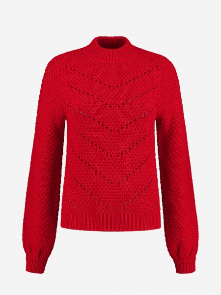 Red long sleeve with high neck