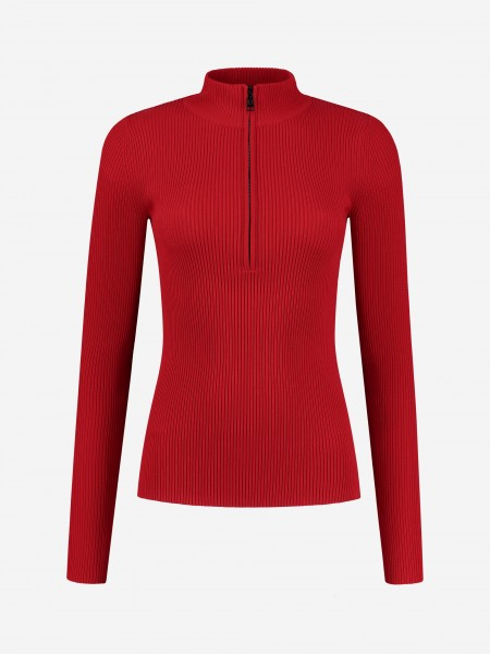 Red rib top with zipper