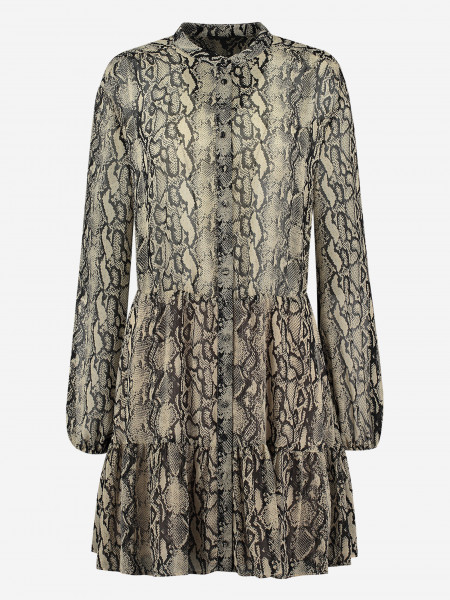 dress with snake print and ruffles