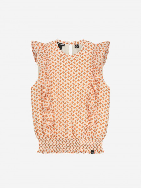 TOP WITH ALL OVER N PRINT AND RUFFLES