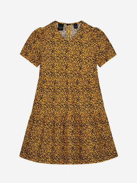 a-line dress with leopard print