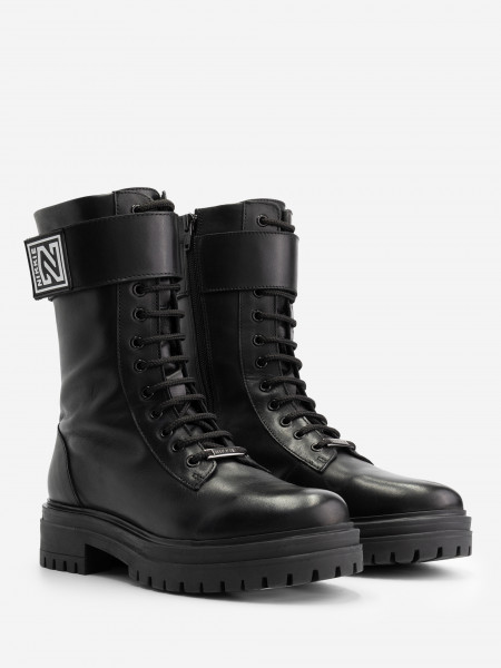 leather boots with adjustable strap