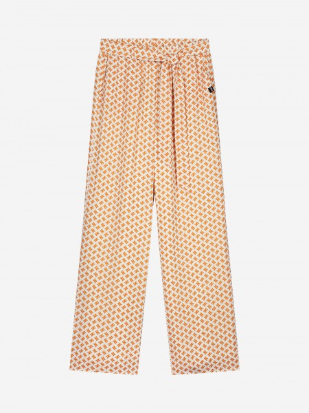 FLARED PANTS WITH ALL OVER N PRINT