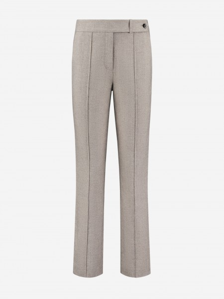 Mixed fabric pants with inverted pleat