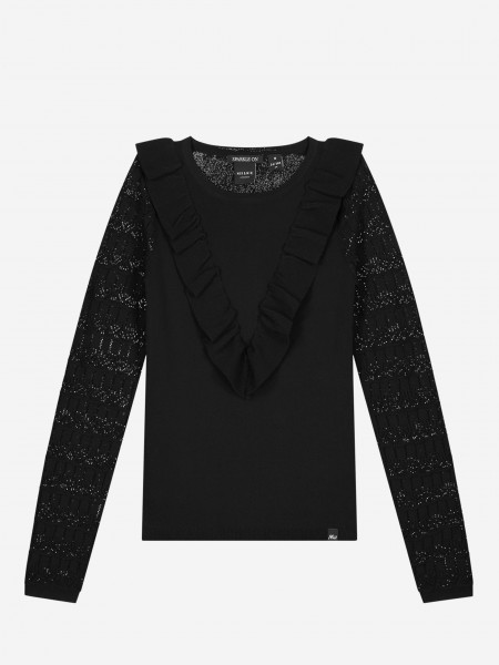 Black pullover with see-through sleeves