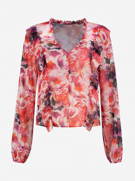 BLOUSE WITH FLOWER PRINT AND RUFFLES