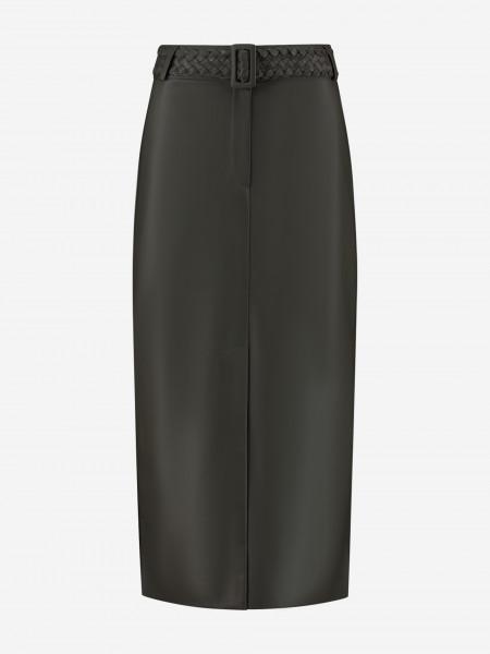 Midi Skirt With Slit of Vegan Leather