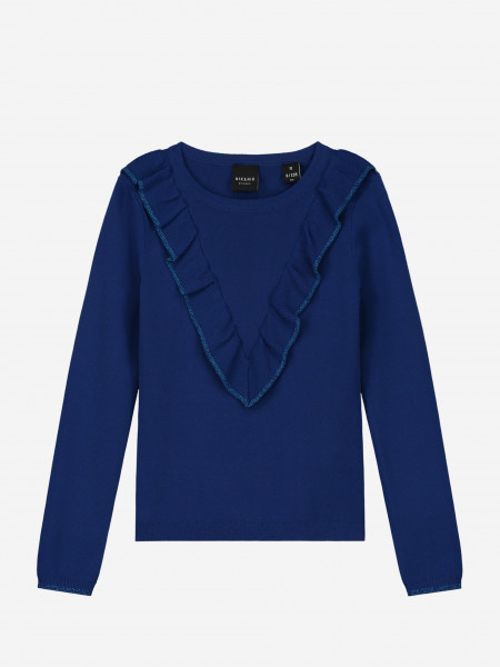 Ruffled sweater with glitter edges